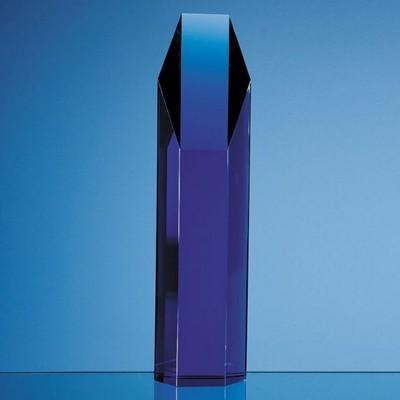 SAPPHIRE BLUE OPTICAL GLASS HEXAGON AWARD.