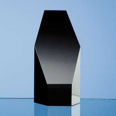 ONYX BLACK OPTICAL GLASS HEXAGON AWARD.