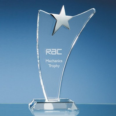 25CM OPTICAL CRYSTAL SWOOP AWARD WITH SILVER STAR.