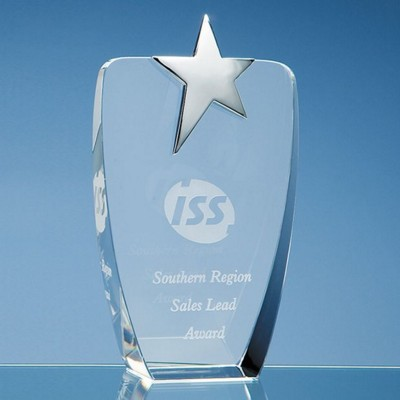 OPTICAL GLASS OVAL AWARD with Silver Star.