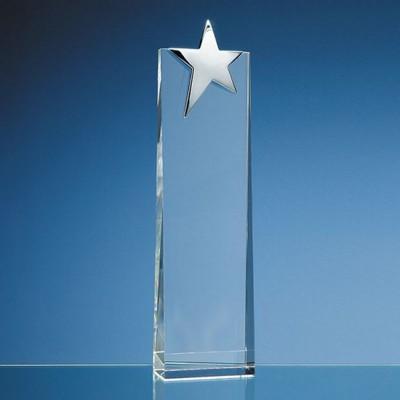 OPTICAL GLASS RECTANGULAR AWARD with Silver Star.