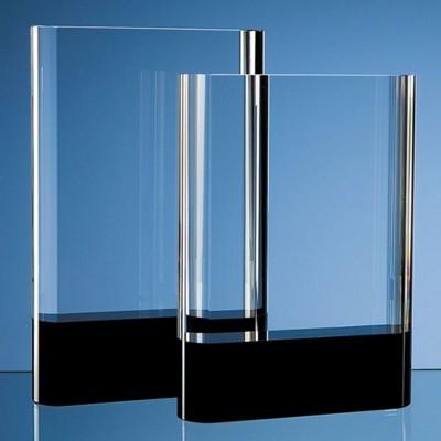 OPTICAL CRYSTAL GLASS RECTANGULAR AWARD with Onyx Black Base.