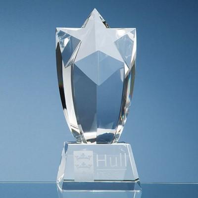 20CM OPTICAL CRYSTAL MOUNTED STARBURST AWARD.