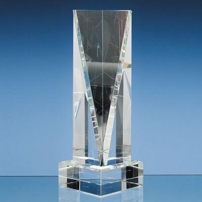 OPTICAL CRYSTAL GLASS FACET RECTANGULAR AWARD.