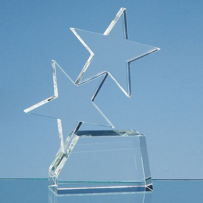 20CM OPTICAL CRYSTAL DOUBLE RISING STAR AWARD.