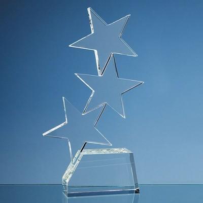 28CM OPTICAL CRYSTAL TRIPLE RISING STAR AWARD.