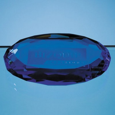 10CM SAPPHIRE BLUE OPTICAL GLASS OVAL FACET PAPERWEIGHT.