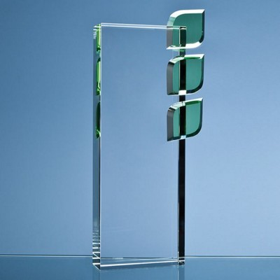 27CM OPTICAL CRYSTAL ECO EXCELLENCE AWARD WITH TRIPLE GREEN LEAFS.