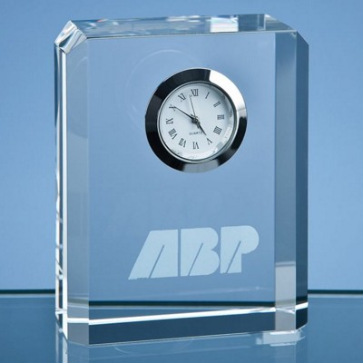 8CM OPTICAL CRYSTAL BEVEL EDGE RECTANGULAR CLOCK.