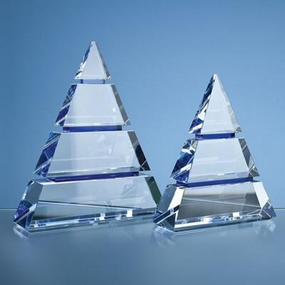 OPTICAL CRYSTAL LUXOR AWARD with 2 Cobalt Blue Lines.