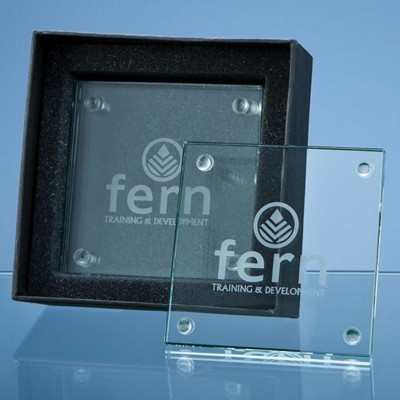 4 OFF 10CM JADE GLASS SQUARE COASTERS IN a GIFT BOX.