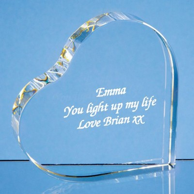 10CM OPTICAL CRYSTAL STAND UP HEART.