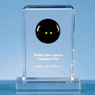 19CM OPTICAL CRYSTAL SQUASH BALL RECTANGULAR AWARD.