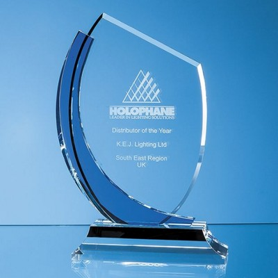 20CM OPTICAL CRYSTAL SLOPE AWARD WITH SAPPHIRE BLUE CURVE.