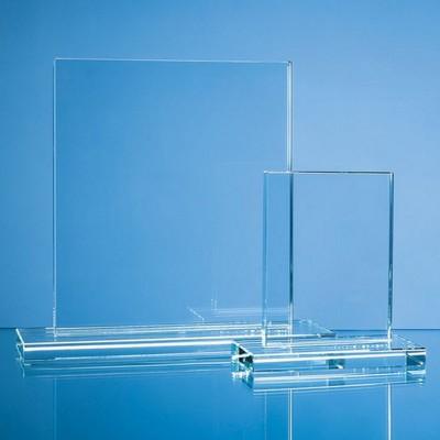 CLEAR TRANSPARENT GLASS RECTANGULAR AWARD.