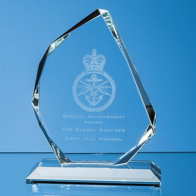 CLEAR TRANSPARENT GLASS FACETTED ICE PEAK AWARD.