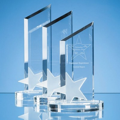 26CM OPTICAL CRYSTAL PEAK WITH FROSTED STAR AWARD.