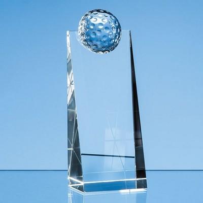 18CM OPTICAL CRYSTAL GOLF BALL RECTANGULAR AWARD.