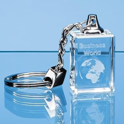 3D ENGRAVED OPTICAL CRYSTAL KEYRING.