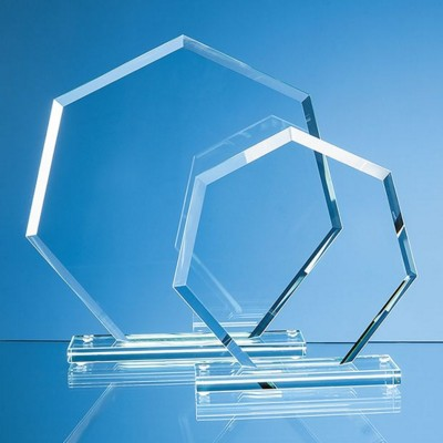 16CM x 17CM x 1CM JADE GLASS BEVELLED EDGE HEPTAGON AWARD.