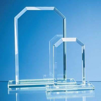 25CM x 17CM x 12MM JADE GLASS BEVELLED EDGE HONOUR AWARD.