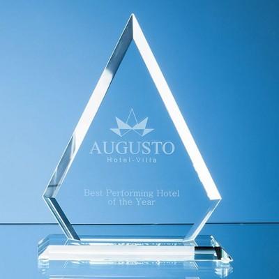22CM x 17CM x 12MM JADE GLASS BEVELLED EDGE DIAMOND AWARD.