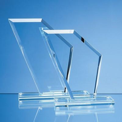 21CM x 18CM x 1CM JADE GLASS BEVELLED EDGE WING AWARD.