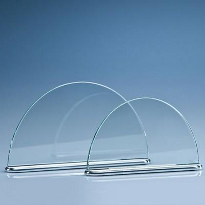 GLASS HALF MOON MOUNTED ON ALUMINIUM METAL SILVER METAL BASE.