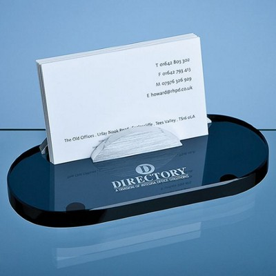 14CM SMOKED GLASS BUSINESS CARD HOLDER.