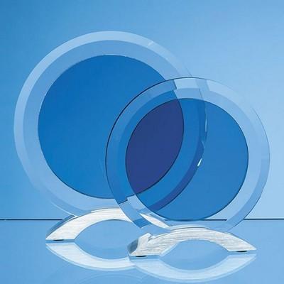 CLEAR TRANSPARENT & SMOKED GLASS CIRCLES MOUNTED ON AN ALUMINIUM METAL BASE.