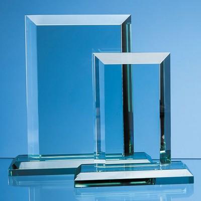 20CM x 15CM x 19MM JADE GLASS MITRED RECTANGULAR AWARD.