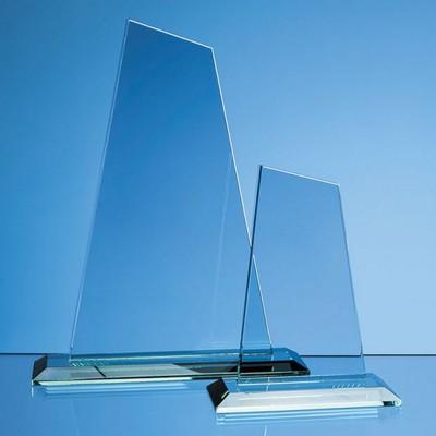 25CM x 15CM x 12MM JADE GLASS MOUNTAIN AWARD.