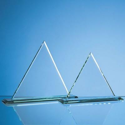27CM x 27CM x 12MM JADE GLASS PYRAMID AWARD.