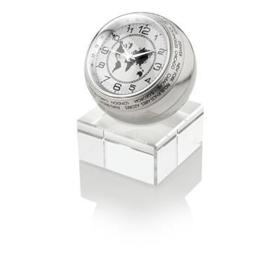 NAVIGATOR WORLD TIME CLOCK in Silver.