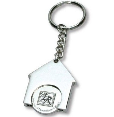 HOUSE SHAPE TROLLEY COIN KEYRING in Silver.