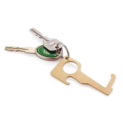 BRASS HYGIENIC ZERO CONTACT KEYRING CHAIN in Brown.