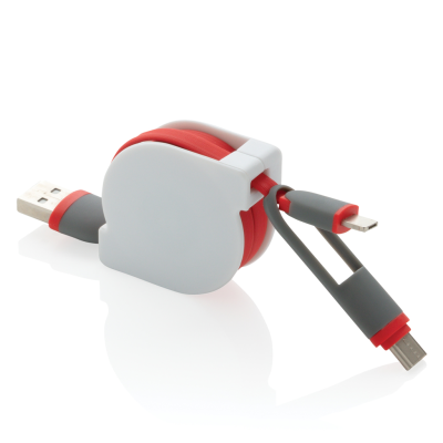 3-IN-1 RETRACTABLE CABLE in Red.