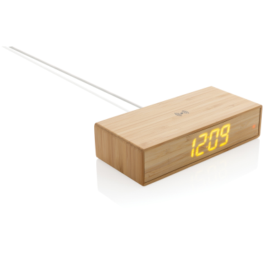 BAMBOO ALARM CLOCK with 5W Cordless Charger in  Brown.