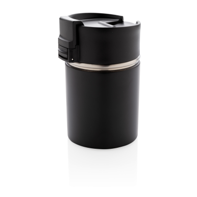 BOGOTA VACUUM COFFEE MUG with CERAMIC POTTERY COATING in Black.