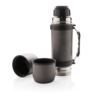 SWISS PEAK VACUUM FLASK with 2 Cups in Grey.