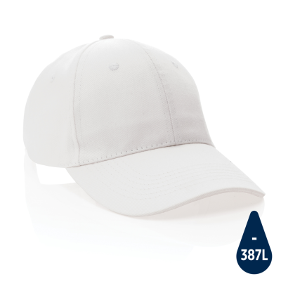 IMPACT 6 PANEL 280GR RECYCLED COTTON CAP with Aware™ Tracer in White.