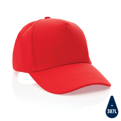 IMPACT 5 PANEL 280GR RECYCLED COTTON CAP with Aware™ Tracer in Red.