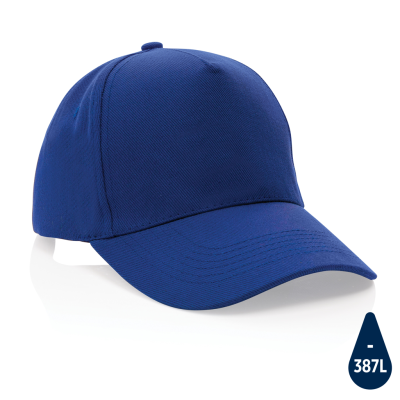 IMPACT 5 PANEL 280GR RECYCLED COTTON CAP with Aware™ Tracer in Blue.