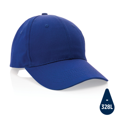 MPACT 6 PANEL 190GR RECYCLED COTTON CAP with Aware™ Tracer in Blue.
