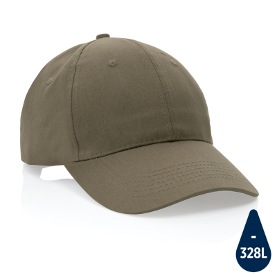 MPACT 6 PANEL 190GR RECYCLED COTTON CAP with Aware™ Tracer in Green.