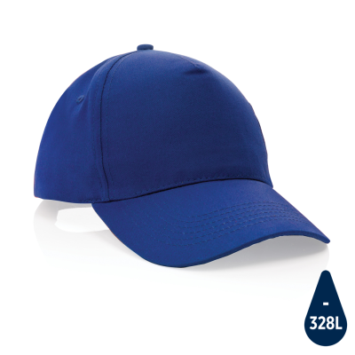 MPACT 5 PANEL 190GR RECYCLED COTTON CAP with Aware™ Tracer in Blue.