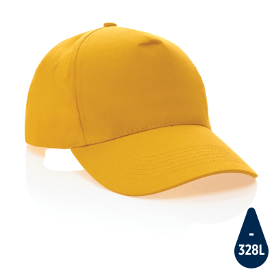 MPACT 5 PANEL 190GR RECYCLED COTTON CAP with Aware™ Tracer in Yellow.