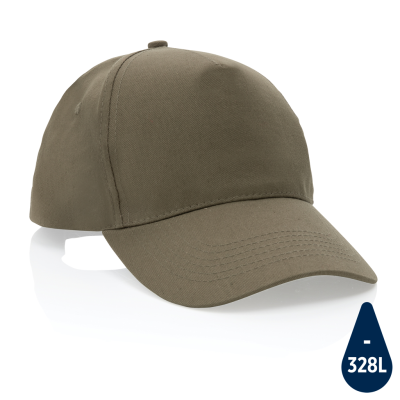 MPACT 5 PANEL 190GR RECYCLED COTTON CAP with Aware™ Tracer in Green.
