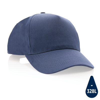 MPACT 5 PANEL 190GR RECYCLED COTTON CAP with Aware™ Tracer in Navy.