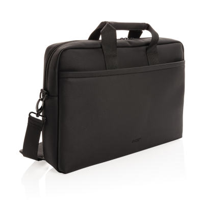 SWISS PEAK DELUXE VEGAN LEATHER LAPTOP BAG PVC FREE in Black.